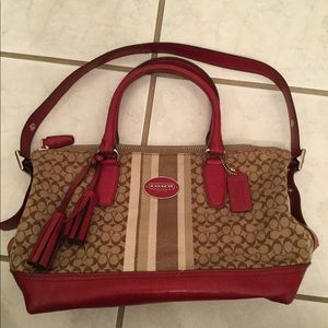 Red and tan Coach bag